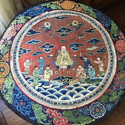 Antique Chinese Silk Embroidered Buddha 8 Immortals Crane Roundel Scenic Stitch