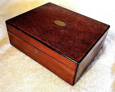 Victorian Walnut Sewing/storage Box,brass Cartouche,nice Pink Lined Interior.