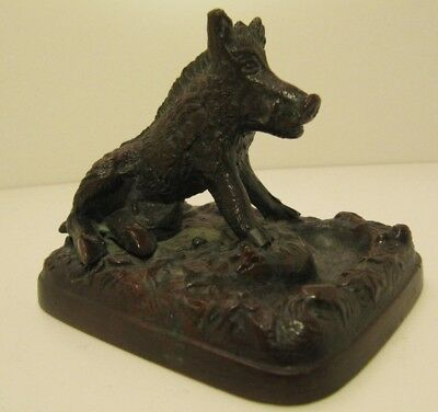 Bronze Boar Antique Pin Tray Ornament 19th Century collectable
