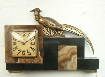 Old Antique Art Deco Bronze Onyx French Clock Pheasant Bird Cubist 1930s as is