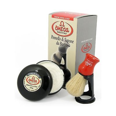 Omega 46065 Shaving Set with Brush Holder and Soap in Bowl