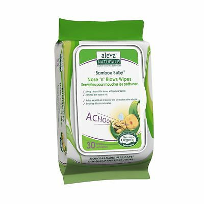 Aleva Naturals Bamboo Baby Nose 'n' Blows Wipes 30 Count (Pack of 12)