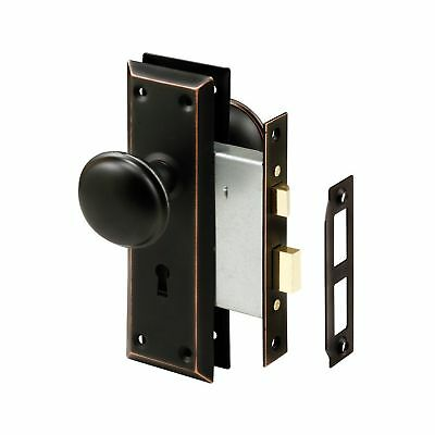 Prime-Line Products E 2495 Mortise Lock Set Keyed Classic Bronze Knob