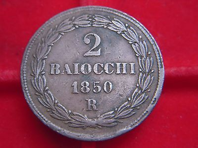 A Rare 1850 Two Baio Coin From The Vatican From My Collection [J98]