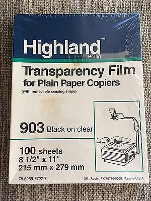 Highland TRANSPARENCY FILM ~ 100 sheets 8.5 x 11 ~ 903 Black on Clear - NEW