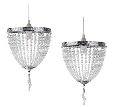 Pair of Vintage French Style Chrome Ceiling Pendant Light Chandelier Lamp Shades