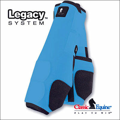 Large Turquoise Classic Equine Legacy System Horse Front Leg Sport Boot Pair