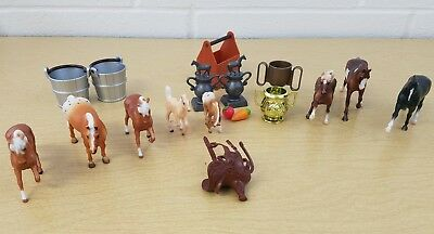 Lot of 8 Breyer Mini Horses and 10 Accessories Trophies Play Toys