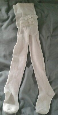 Gymboree Girls White Footed Tights 18 - 24 Months Ruffle Bottom - Free Ship