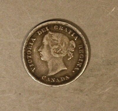 """1884 Canada """"Far 4"""" Silver 5 Cents Nice Details, MP ** FREE U.S. SHIPPING **"""
