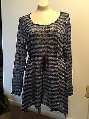 NWT Oh Baby Motherhood Maternity Top MEDIUM Blue Striped Knit Long Sleeve $40