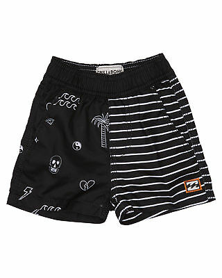 New Billabong Boys Tots Boys Scribble Layback Boardshort Suede Black