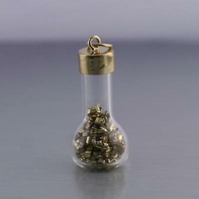 Vintage 14kt Yellow Gold Glass Bottle with Gold Flakes Pendant