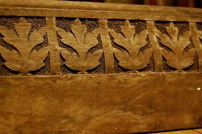 Large Walnut Aesthetic Movement Pediment or Footer with Deep Carved Foliate Pane