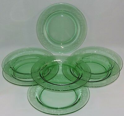 Fostoria Elegant Glass Etched Green Salad Plates (7)