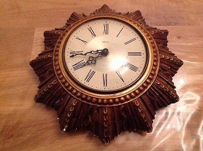 "Vintage Smiths Sunburst 8 Day Clock Wound Working Abd Keeping Time 10"" Diam."