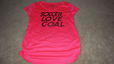 Girls Size 12 JUSTICE SHORT DRY Sleeve  SOCCER LOVE GOAL Shirt Top