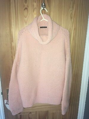 Zara Pink Chunky Knit Jumper Size Medium 10/12 Mint Condition