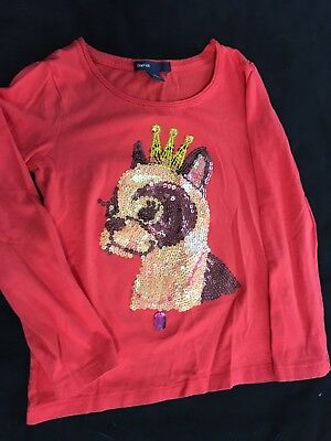 Gap Kids NWT girl's cotton coral long sleeve shirt with sequenced dog size 4-5