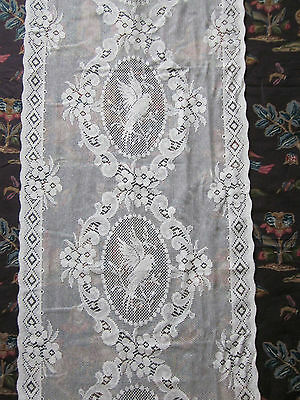 """Cream Cotton Lace Doves Cameo lace panelling 23""""wide yardage off roll to finish"""