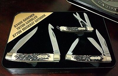 Lot 3 Stag Uncle Henry Pocket Knives W/ Knife Display Case Schrade  L.e. !!!
