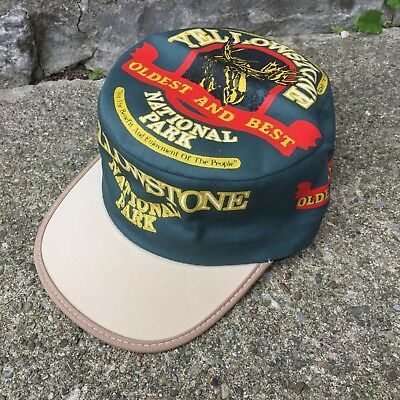 RARE VTG Yellowstone National Park Painters Hat Cap All Over Print USA Made 80s