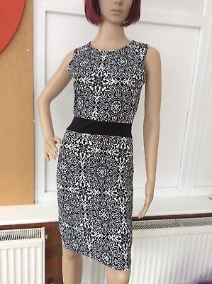 Women's Black & White Bodycon Dress Size 8 New With Tags