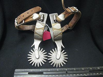 Old~Rare~Large Crockett Heart Pattern Silver Overlay Texas Style Spurs ~Marked