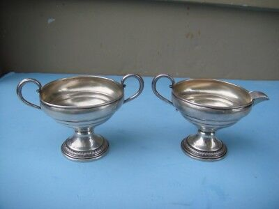 Vintage Sterling Reinforced with Cement Sugar Bowl and Creamer 189 Grams