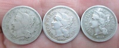 1867,70 & 81 United States Three Cent Nickel Coins No Reserve