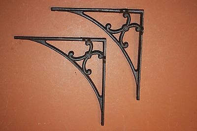 (2), Large Shelf Brackets, Solid Heavy Cast Iron, Decorative, Rustic, Ranch,B-50