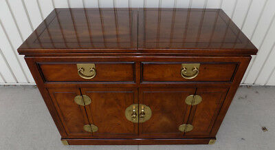 Henredon flip top bar / server Walnut buffet sideboard Chinese Folio Asian style