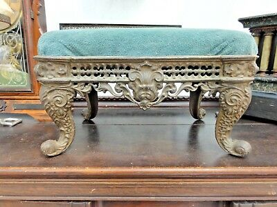 Antique Victorian Philadelphia Cast Iron Footstool Beautiful Rococo Iron Work