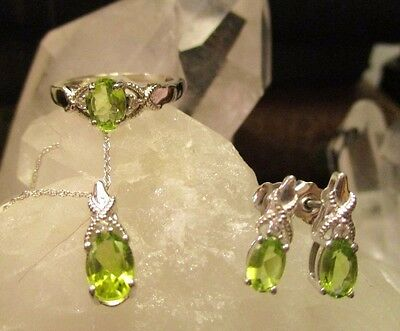 925 Sterling Silver Necklace Earrings And Ring Set With CZs & Peridot Stones