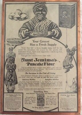 """Vintage AUNT JEMIMA  Pancake Flour Ad In Copper Frame Approx. 5""""X 7.5"""""""