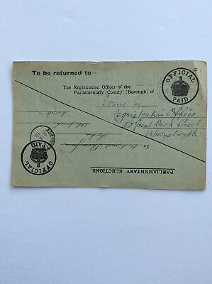 1919 Parliamentary Election Card from Aberystwyth for Naval or Military Voters