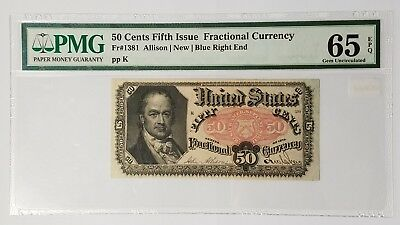 1875 50 Cents Fractional Currency Fifth Issue Fr# 1381 PMG Gem Uncirculated EPQ