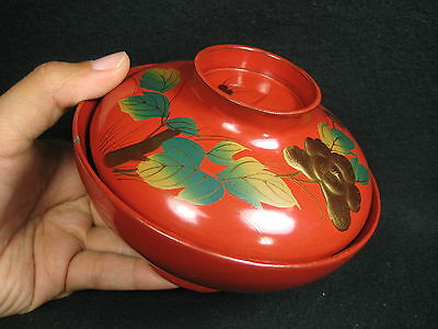 Japanese Antique Signed Gold Makie Red Lacquer Lidded Bowl Peony