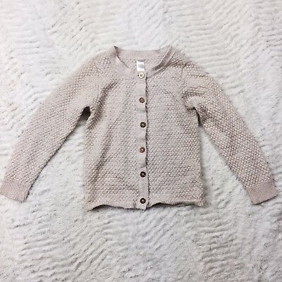 Cherokee Pointenelle Knit Cardigan Sweater Gold Sparkly Long Sleeve Girls 2T