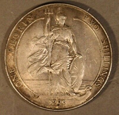 1906 Great Britain Florin Nice Detail Old Cleaning Silver* FREE U.S. SHIPPING **
