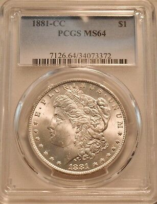 1881 CC $1 PCGS MS 64 Morgan Silver Dollar, Scarce Date Carson City Coin