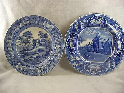 Two Antique Staffordshire Blue Plates - Spode & Rigdways