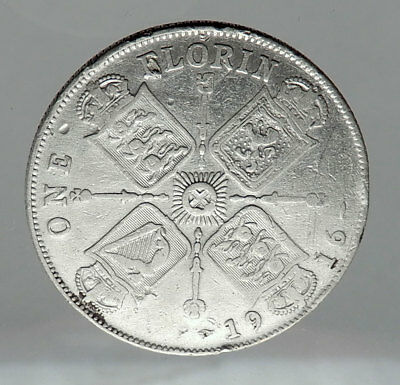 1916 United Kingdom Great Britain GEORGE V Silver Florin 2 Shillings Coin i62908