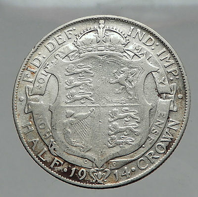1914 Great Britain United Kingdom UK King GEORGE V Silver Half Crown Coin i62909