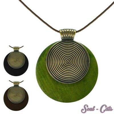 Necklace Helix Wood Leather Green Black Braun Natural Natural Chain Brass