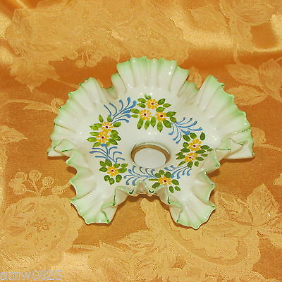 Antique Glass Candle Holder Ruffled White Green Hand Painted Flower Hand Crafted
