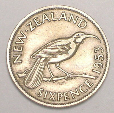 1953 New Zealand Six 6 Pence Huia Bird Coin VF