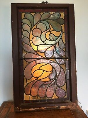 "Vintage Leaded Stained Glass Panel  40"" x 64"" in a Wooden Frame"