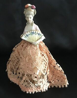 """Antique Germany 6 1/2"""" Porcelain Half Doll Pin Cushion Victorian Lady with Fan"""
