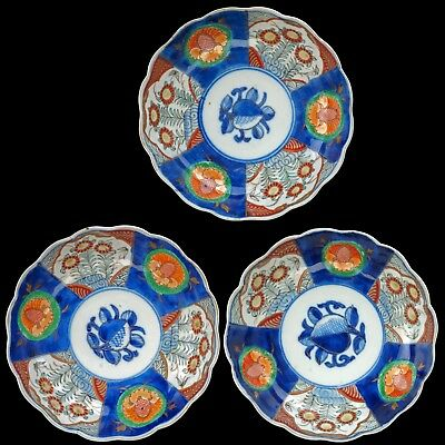 Set of three matching Japanese 19th century porcelain Imari bowls
